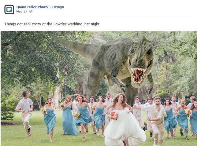 dinosaur wedding picture